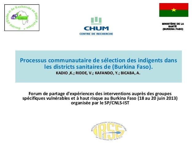 FForum de partage d'expériences des interventions auprès des groupes spécifiques vulnérables et à haut risque au Burkina F...