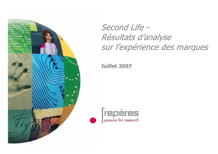 Experiences De Marques Dans Second Life   Etude Reperes 2007