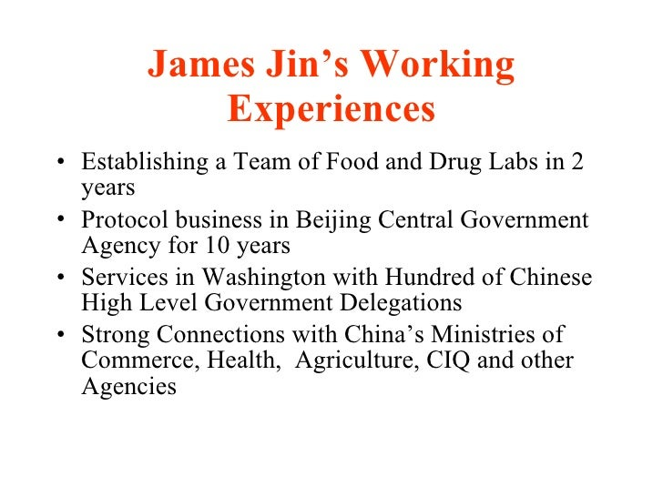 Experiences Of James Jin