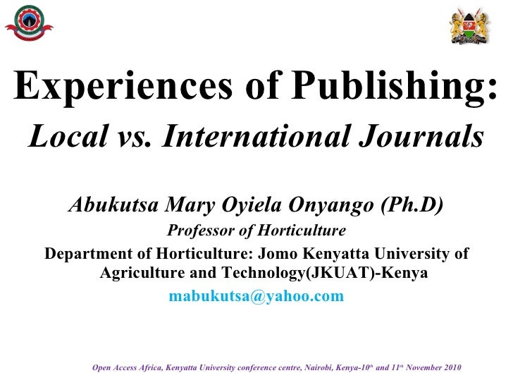 Experiences of publishing: local vs. international journals