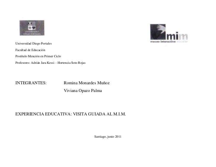 25407683500613727528575000<br />Universidad Diego Portales<br />Facultad de Educación<br />Postítulo Mención en Primer Cic...