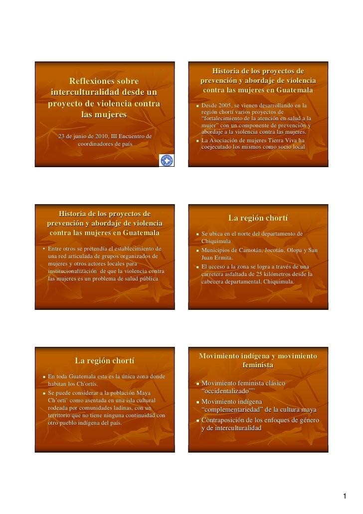 Historia de los proyectos de           Reflexiones sobre                               prevención y abordaje de violencia ...