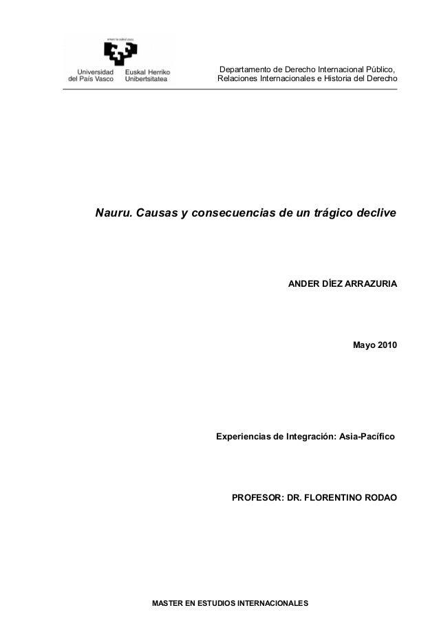 Departamento de Derecho Internacional Público,Relaciones Internacionales e Historia del DerechoNauru. Causas y consecuenci...