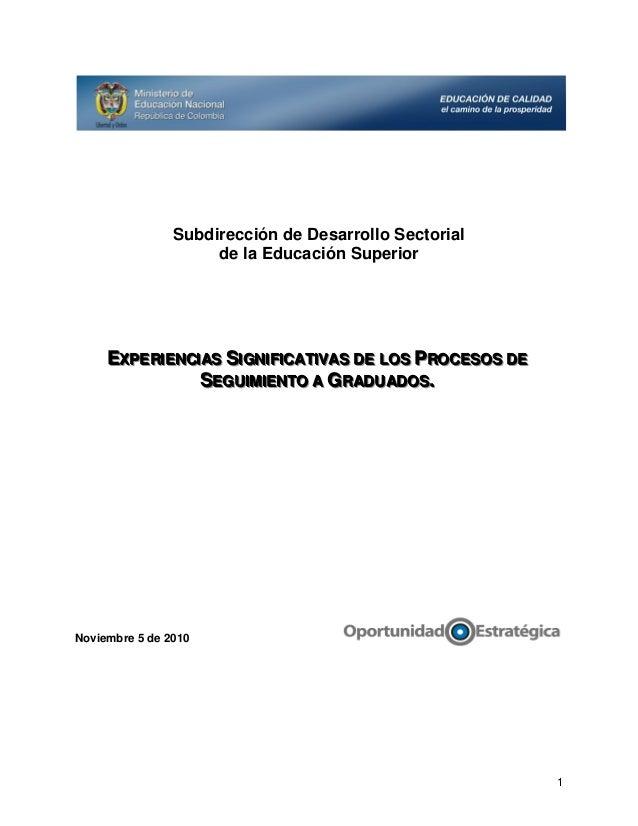 Subdirección de Desarrollo Sectorial de la Educación Superior  EXPERIIENCIIAS SIIGNIIFIICATIIVAS DE LOS PROCESOS DE EXPER ...