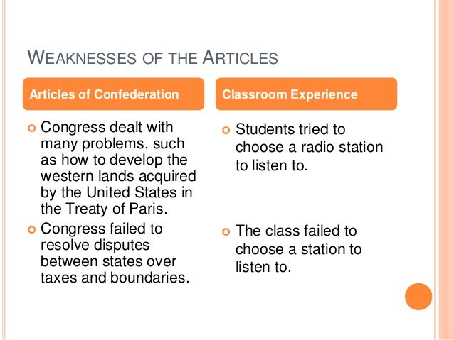 Article of confederation weaknesses essay