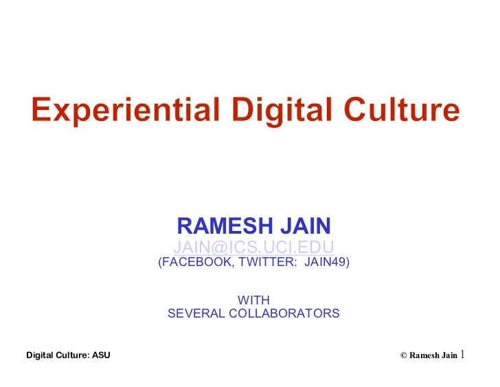Experiential digital culture 110225