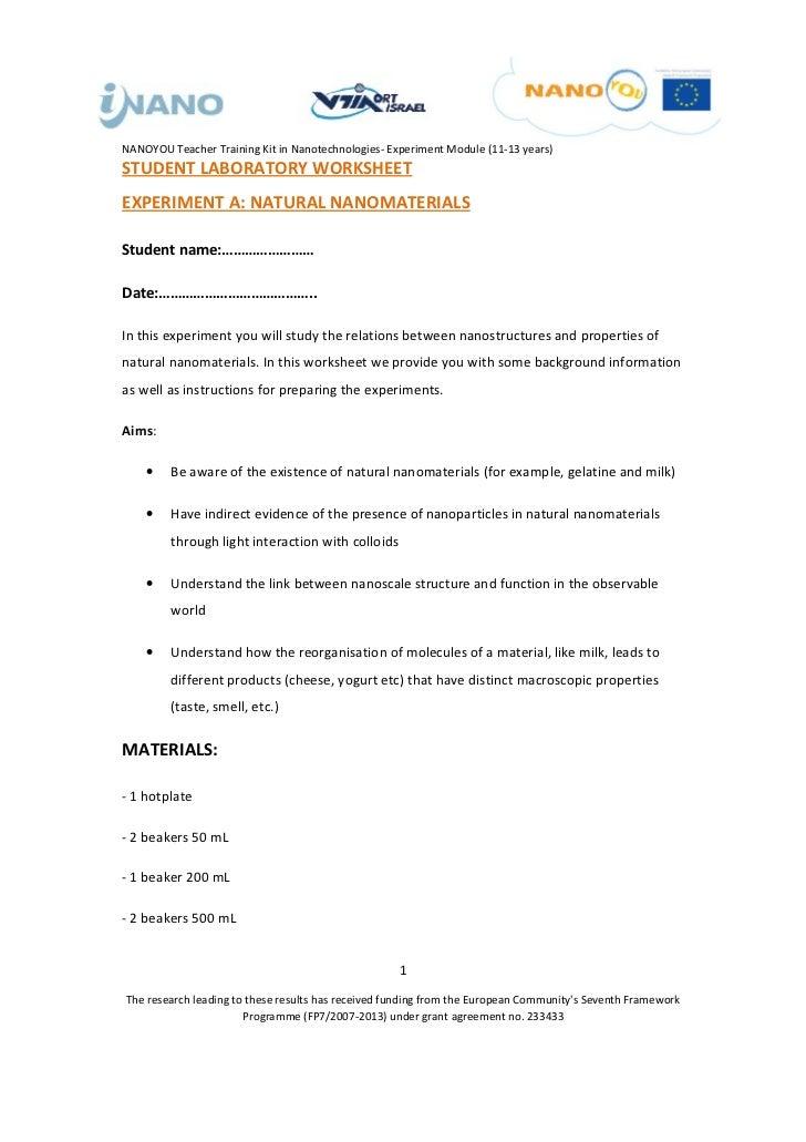 NANOYOU Teacher Training Kit in Nanotechnologies- Experiment Module (11-13 years)STUDENT LABORATORY WORKSHEETEXPERIMENT A:...