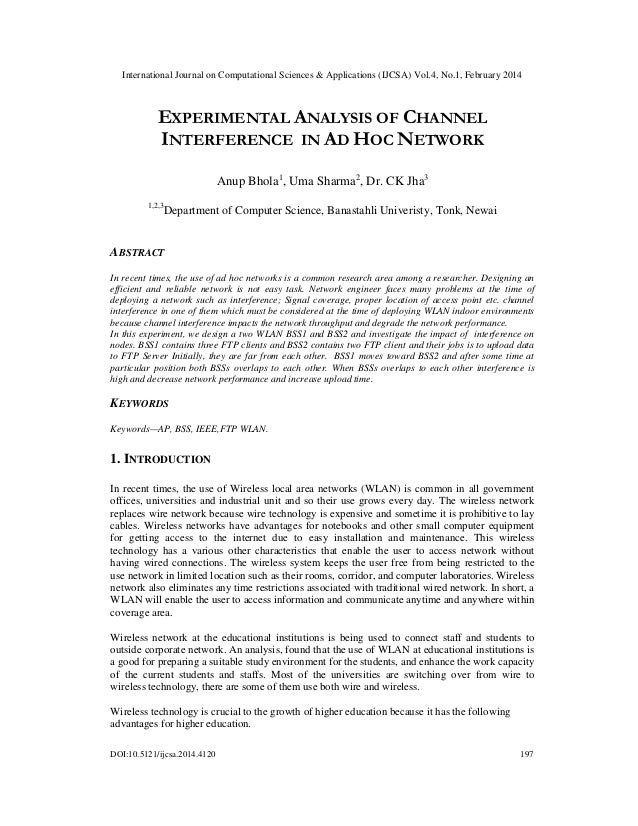 Experimental analysis of channel interference in ad hoc network