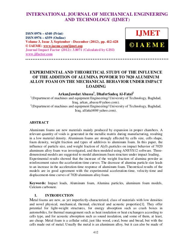 Experimental and theoretical study of the influence of the addition of alumina powder