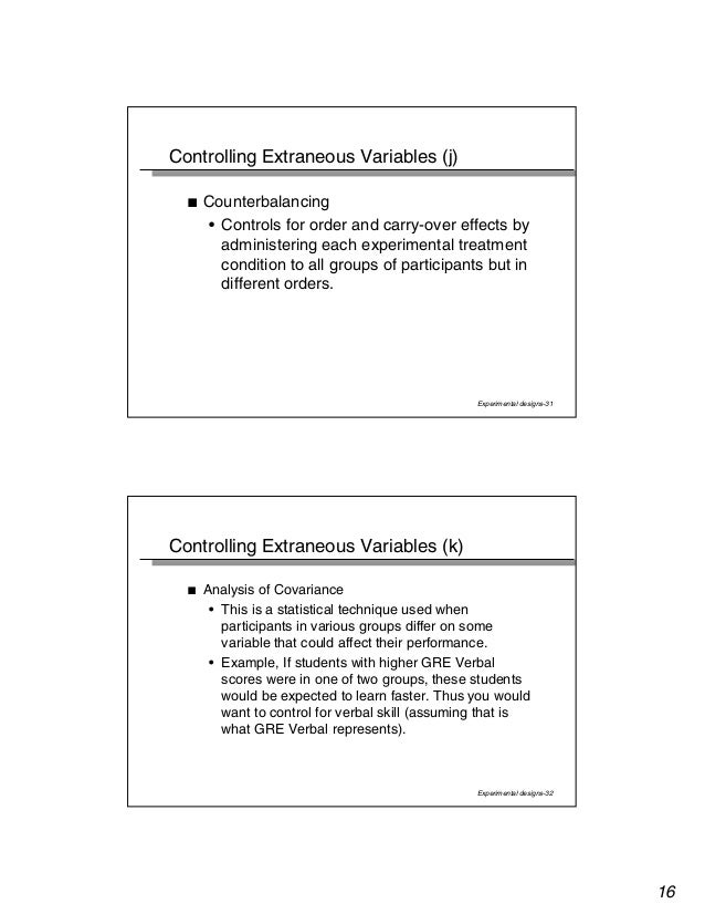 31 controlling extraneous variables j counterbalancing controls