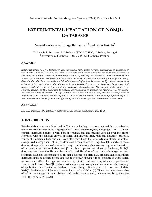 Experimental evaluation of no sql databases