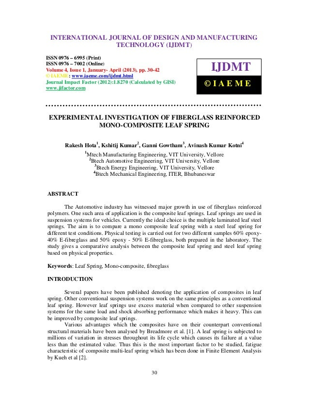 International Journal of Design and Manufacturing Technology (IJDMT), ISSN 0976 – INTERNATIONAL JOURNAL OF DESIGN AND MANU...
