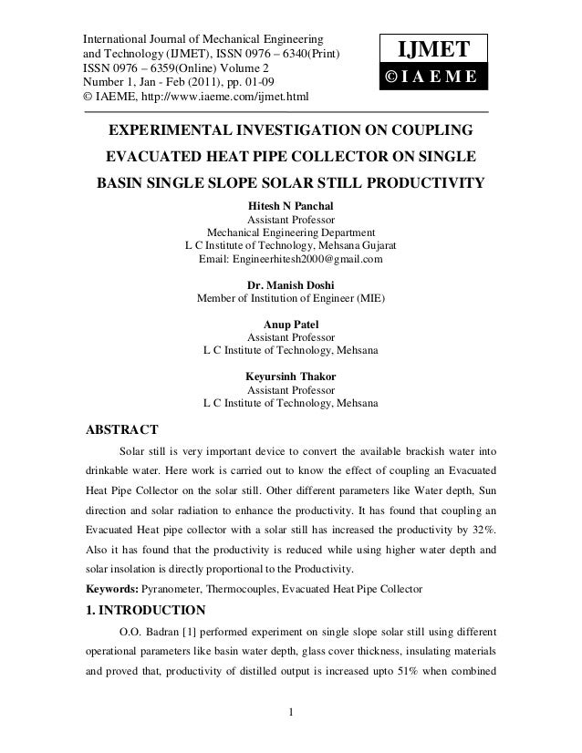 Experimental investigation on coupling evacuated heat pipe collector on single basin single slope solar still productivity