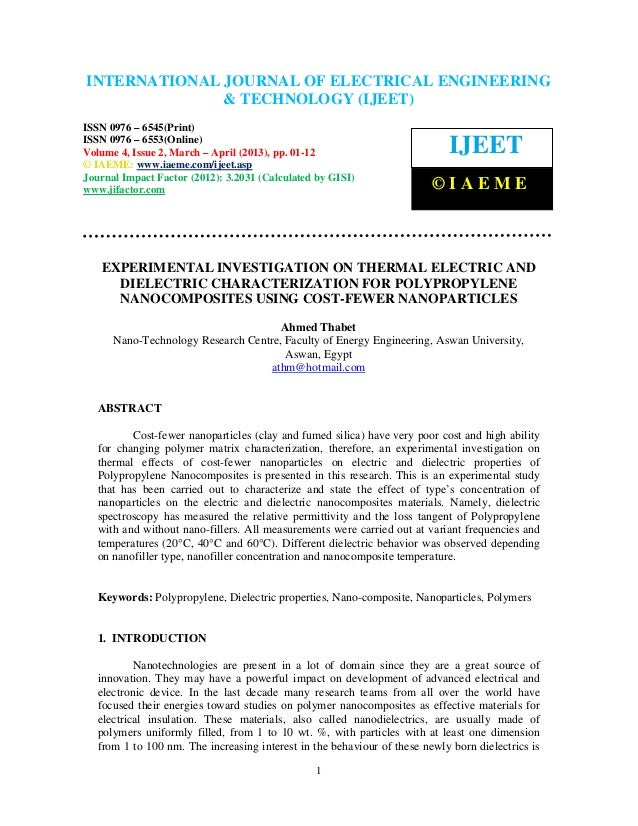 Experimental investigation on thermal electric and dielectric characterization for polypropylene