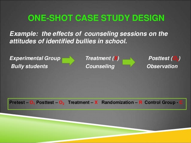 one shot case study experimental design This work is licensed under a creative commons attribution-noncommercial one shot case study: attrition or experimental mortality − people in one group or.