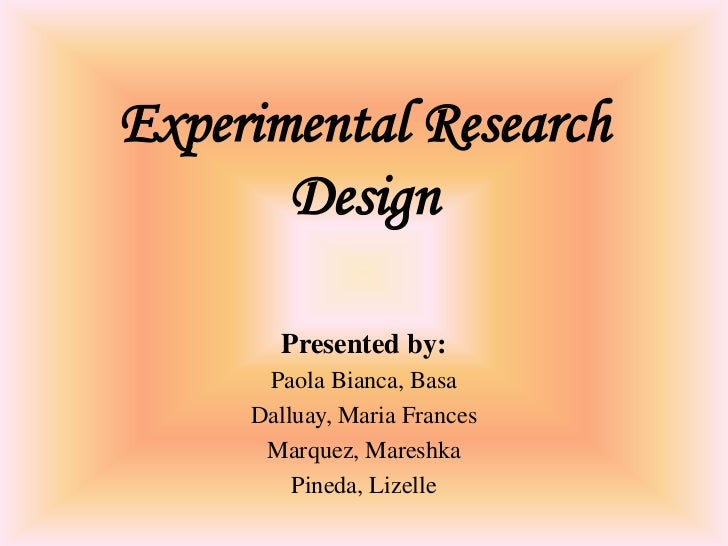Experimental research design.revised