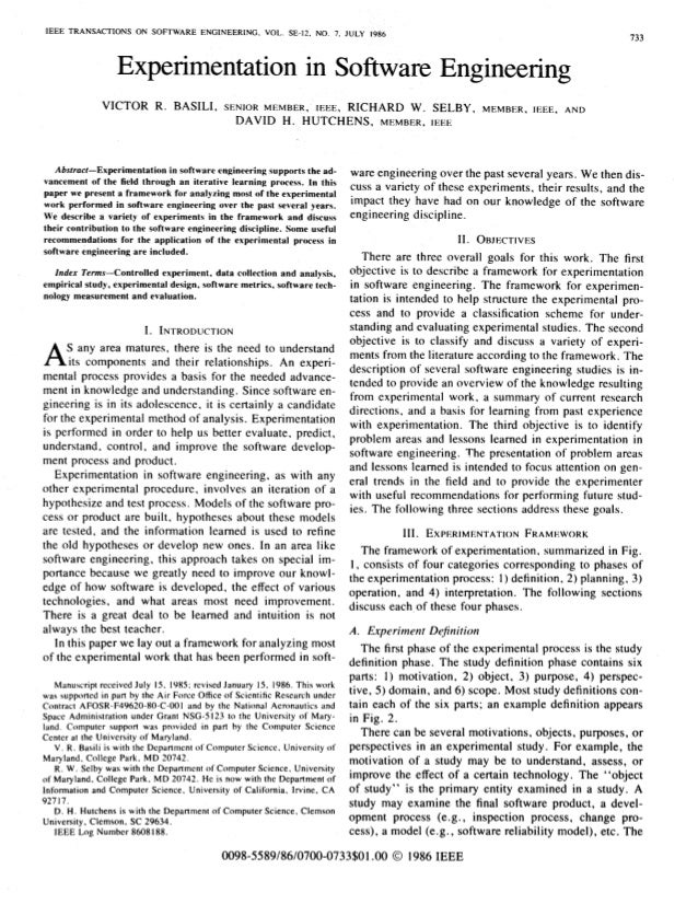 Experimentation in software_engineering_1986