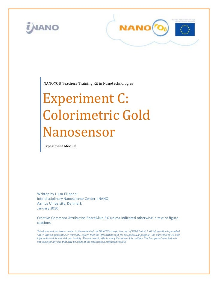 Experiment with colorimetric cold nanosensors - Teacher guide (age 14-18)