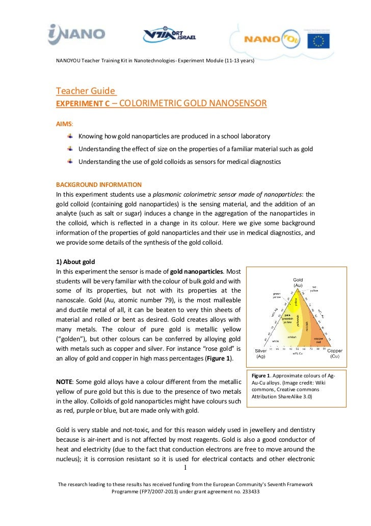 NANOYOU Teacher Training Kit in Nanotechnologies- Experiment Module (11-13 years)Teacher GuideU                           ...