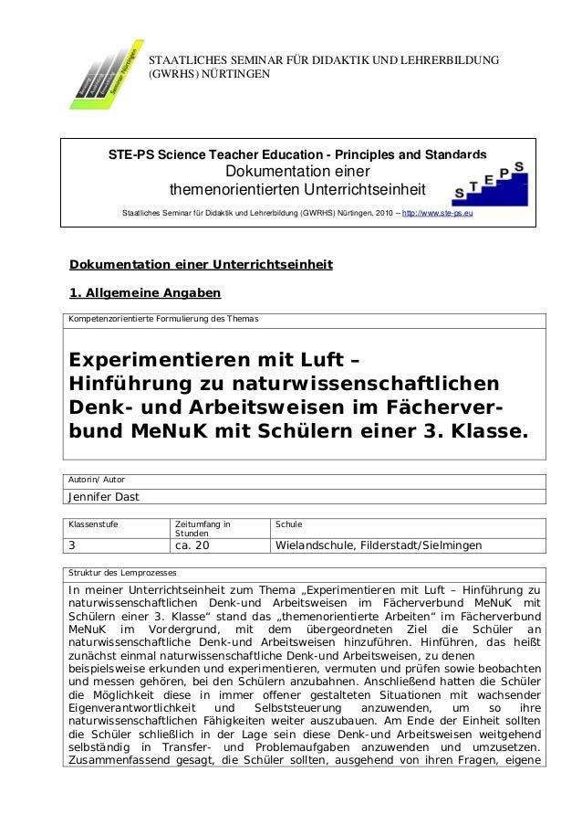 STAATLICHES SEMINAR FÜR DIDAKTIK UND LEHRERBILDUNG                      (GWRHS) NÜRTINGEN         STE-PS Science Teacher E...