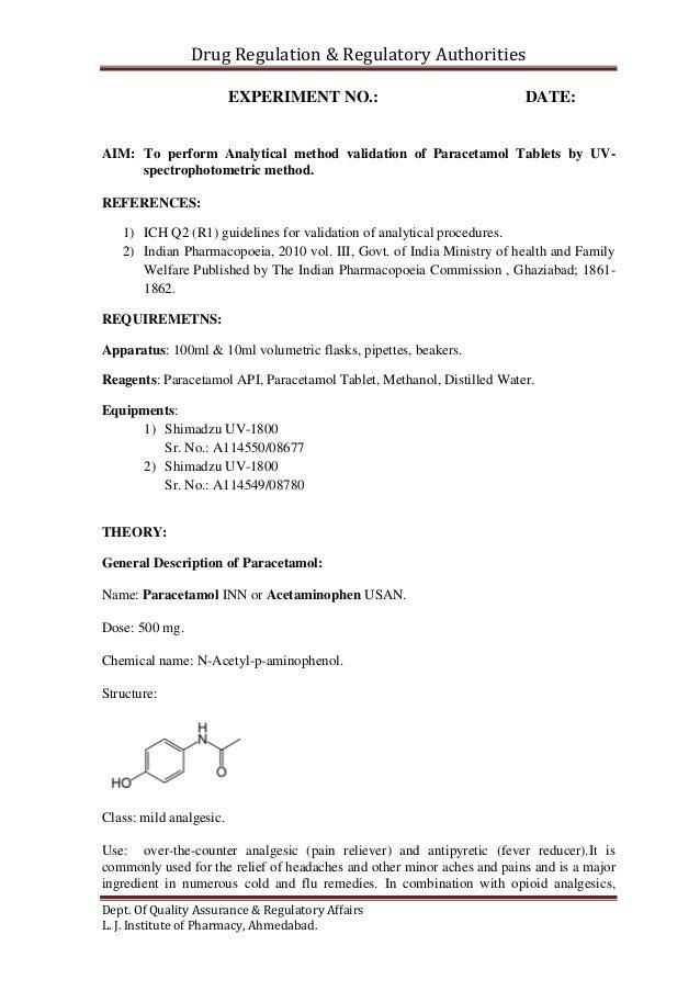 Perform Analytical Method Validation Paracetamol Tablets Uvspectrophotometric 638 Cb Uv Spectrophotometric Determination