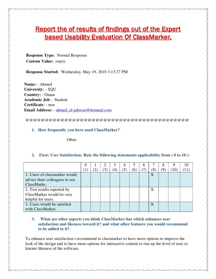 Expert based usability evaluation of classmarker results report
