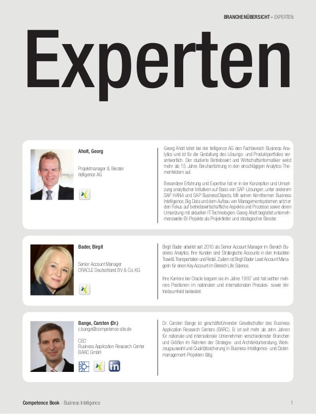 Competence Book - Business Intelligence 1 Bange, Carsten (Dr.) c.bange@competence-site.de CEO Business Application Researc...