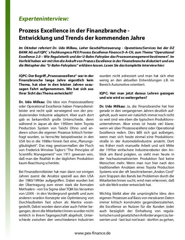 """Prozess Excellence in der Finanzbranche - Entwicklung und Trends der kommenden Jahre IQPC: Der Begriff""""Prozessexzellenz"""" w..."""