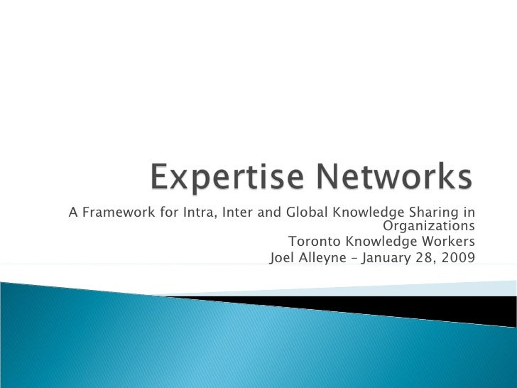 A Framework for Intra, Inter and Global Knowledge Sharing in Organizations Toronto Knowledge Workers Joel Alleyne – Januar...