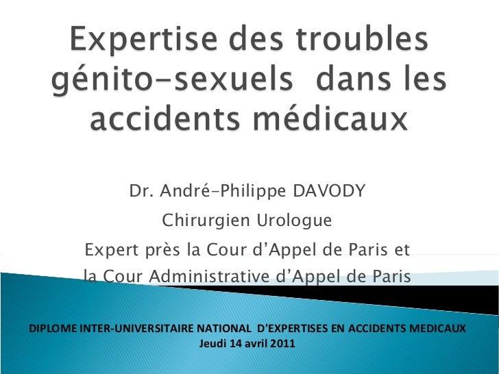Expertise des troubles génito sexuels  dans les accidents médicaux