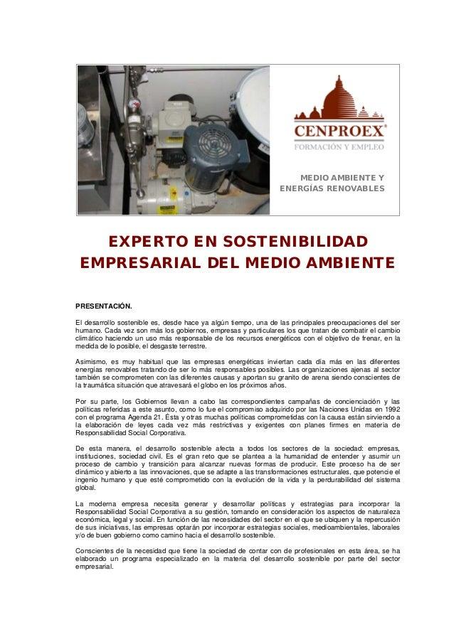 MEDIO AMBIENTE YENERGÍAS RENOVABLESEXPERTO EN SOSTENIBILIDADEMPRESARIAL DEL MEDIO AMBIENTEPRESENTACIÓN.El desarrollo soste...