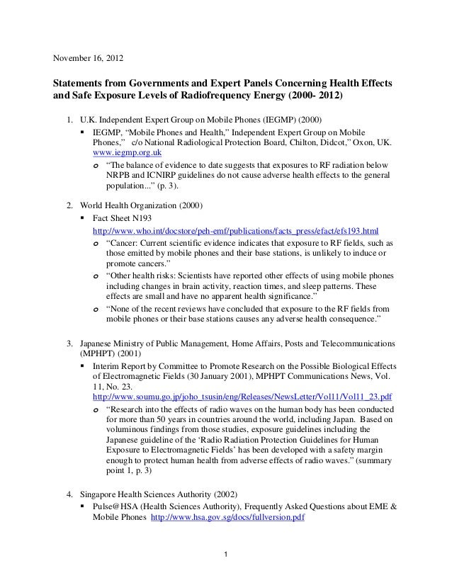 November 16, 2012  Statements from Governments and Expert Panels Concerning Health Effects and Safe Exposure Levels of Rad...