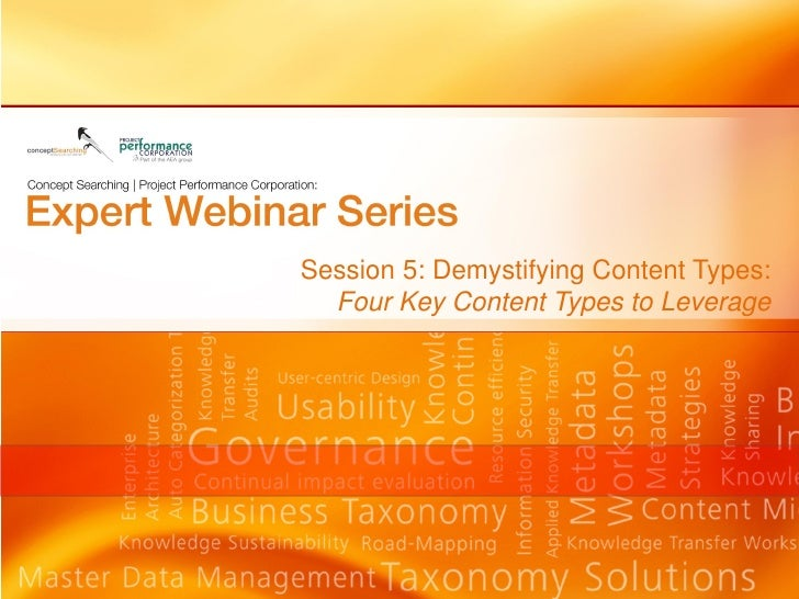 Session 5: Demystifying Content Types:  Four Key Content Types to Leverage