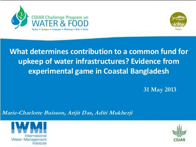 What determines contribution to a common fund for upkeep of water infrastructures? Evidence from experimental game in Coastal Bangladesh