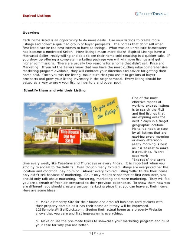 Expired Listings  _____________________________________________________________________________________ Overview Each home...