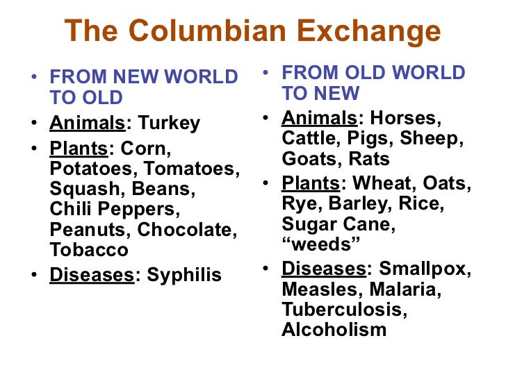 columbian exchange essay thesis The columbian exchange throughout history, global trade gradually became popular, different cultures exchanged goods and slowly made improvements in lifestyles the columbian exchange is one of the most impressive global trades the trade consisted of animals, plants and diseases.