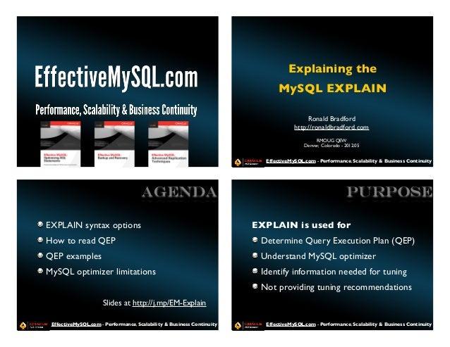 Explaining the MySQL Explain