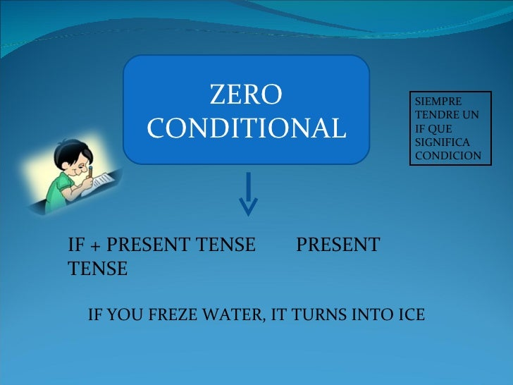 ZERO CONDITIONAL IF + PRESENT TENSE  PRESENT TENSE IF YOU FREZE WATER, IT TURNS INTO ICE SIEMPRE TENDRE UN IF QUE SIGNIFIC...