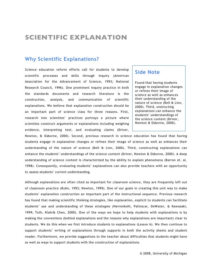 SCIENTIFIC EXPLANATION   Why Scientific Explanations? Science education reform efforts call for students to develop scient...