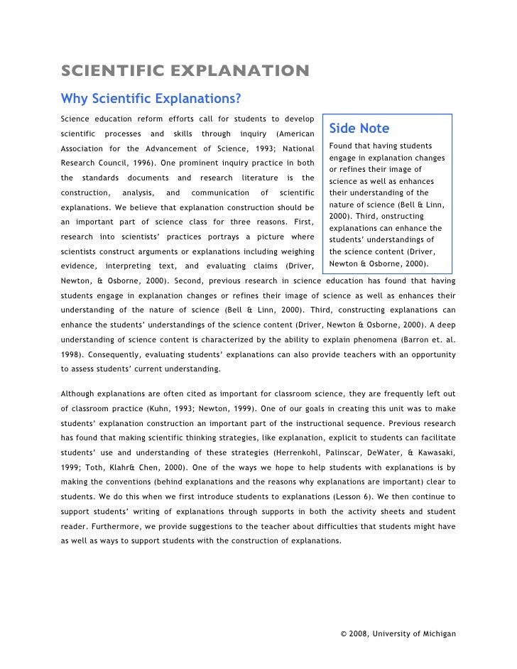 SCIENTIFIC EXPLANATION Why Scientific Explanations? Science education reform efforts call for students to develop scientif...