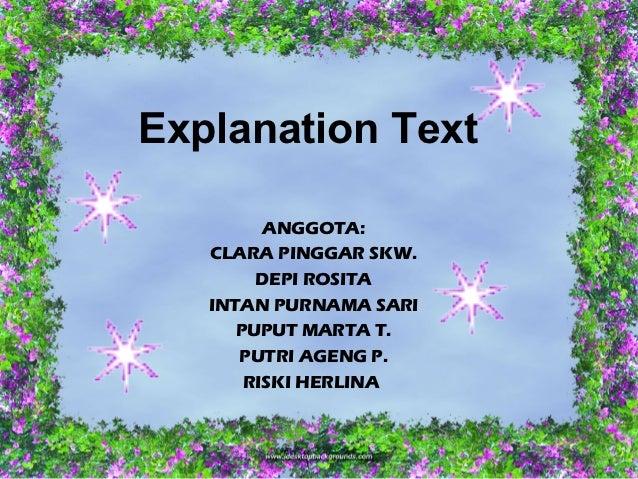 ExplanationText         ANGGOTA:   CLARA PINGGAR SKW.        DEPI ROSITA   INTAN PURNAMA SARI      PUPUT MARTA T.      PU...