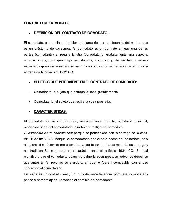 Explicaciones del contrato de comodato