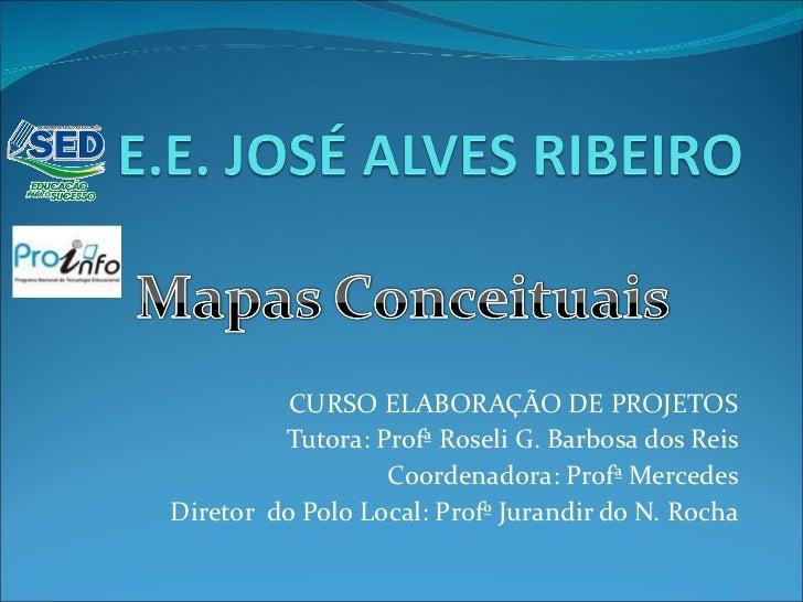 CURSO ELABORAÇÃO DE PROJETOS Tutora: Profª Roseli G. Barbosa dos Reis Coordenadora: Profª Mercedes Diretor  do Polo Local:...