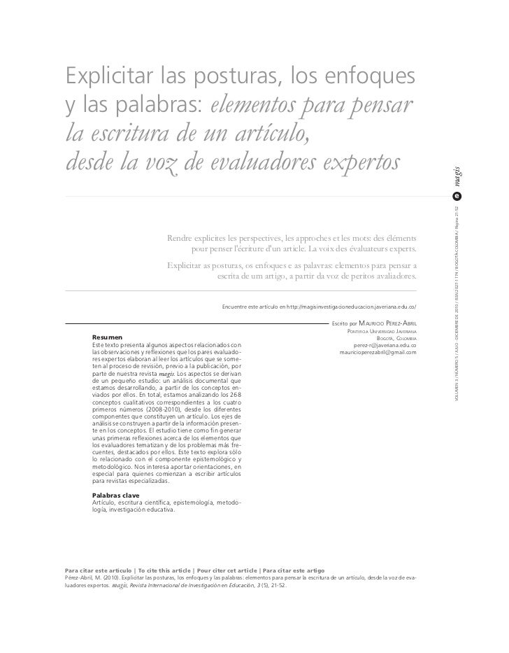 Explicitar las posturas, los enfoquesy las palabras: elementos para pensarla escritura de un artículo,desde la voz de eval...