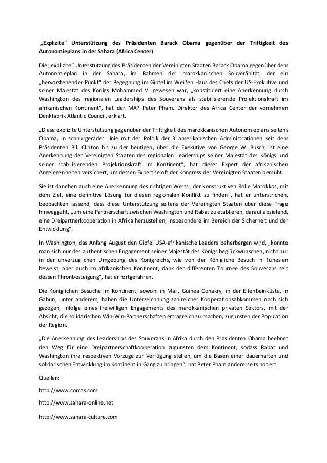 """""""Explizite"""" unterstützung des präsidenten barack obama gegenüber der triftigkeit des autonomieplans in der sahara (africa center)"""