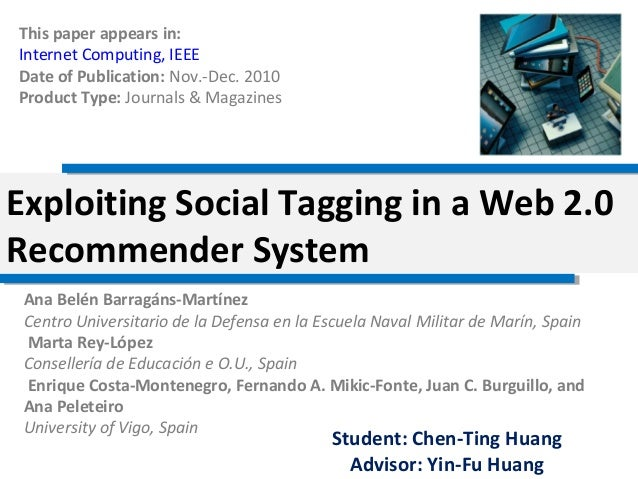 Exploiting social tagging in a web 2.0 recommender system(lab)