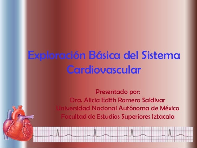 Exploración Básica del Sistema       Cardiovascular                   Presentado por:         Dra. Alicia Edith Romero Sal...