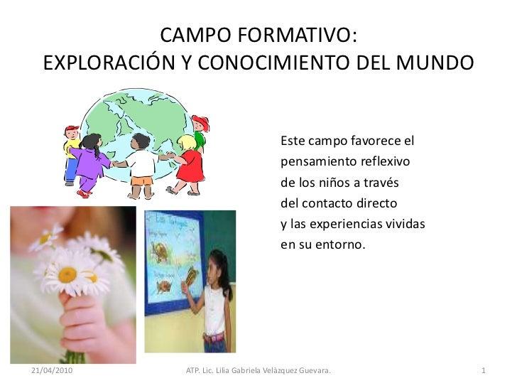 21/04/2010<br />ATP. Lic. Lilia Gabriela Velàzquez Guevara.<br />1<br />CAMPO FORMATIVO:EXPLORACIÓN Y CONOCIMIENTO DEL MUN...