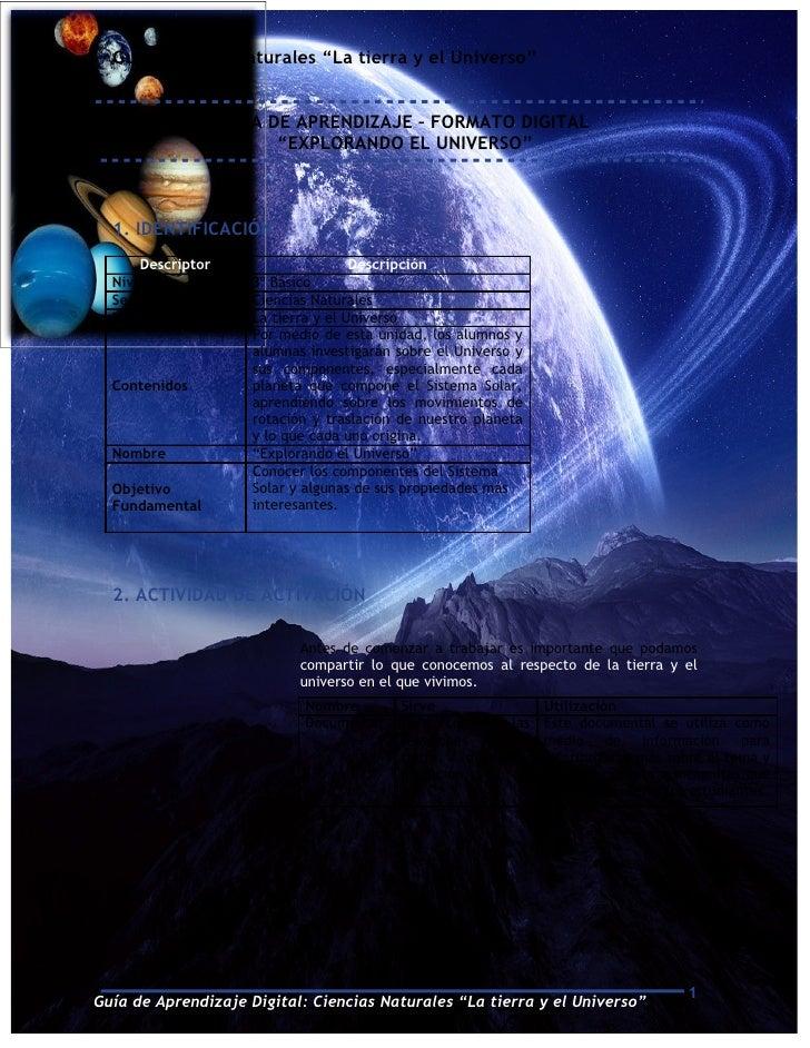 """Guía Ciencias Naturales """"La tierra y el Universo""""                   GUÍA DE APRENDIZAJE – FORMATO DIGITAL                 ..."""