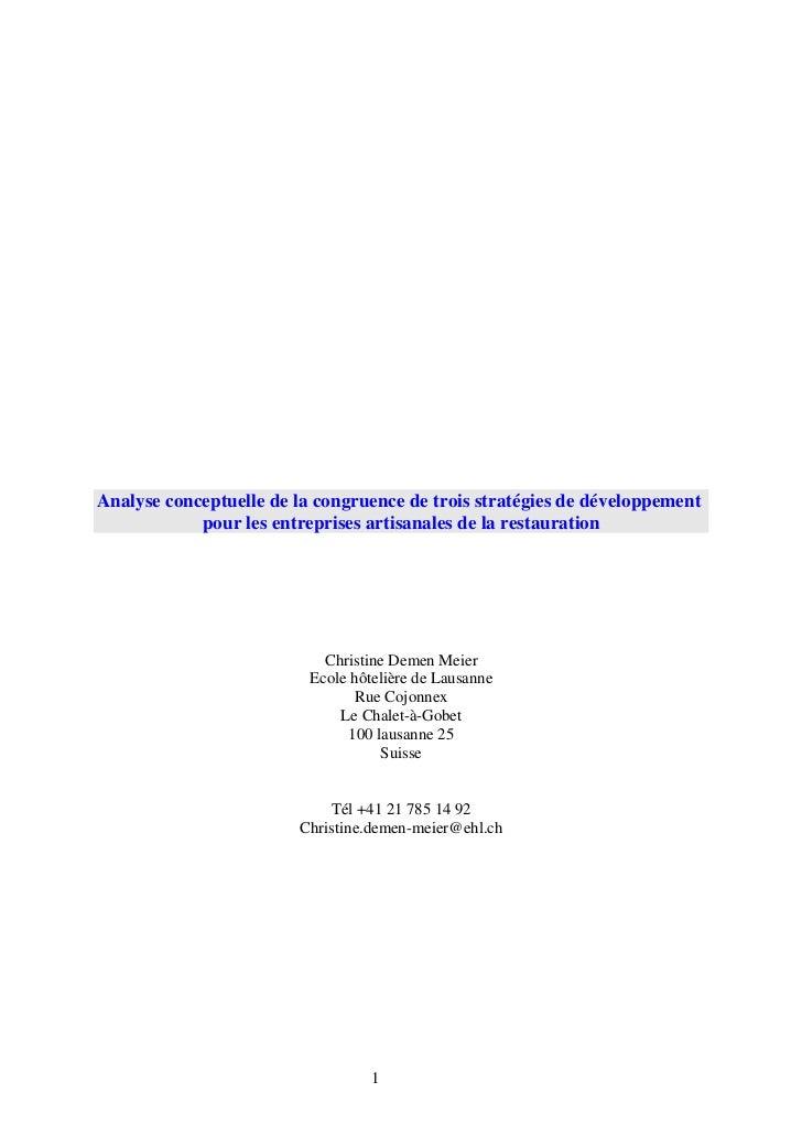 Analyse conceptuelle de la congruence de trois stratégies de développement            pour les entreprises artisanales de ...